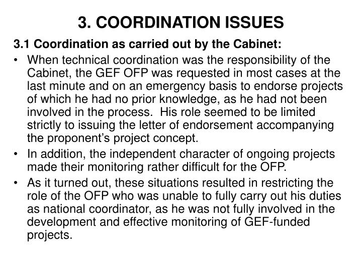 3. COORDINATION ISSUES