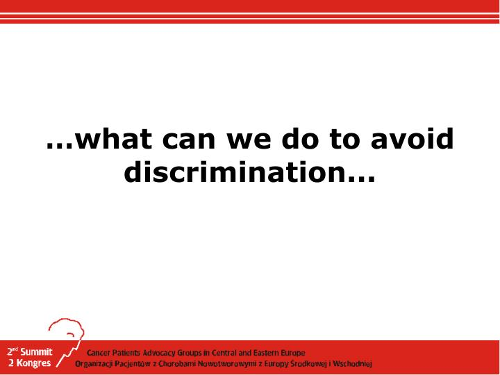 …what can we do to avoid discrimination...