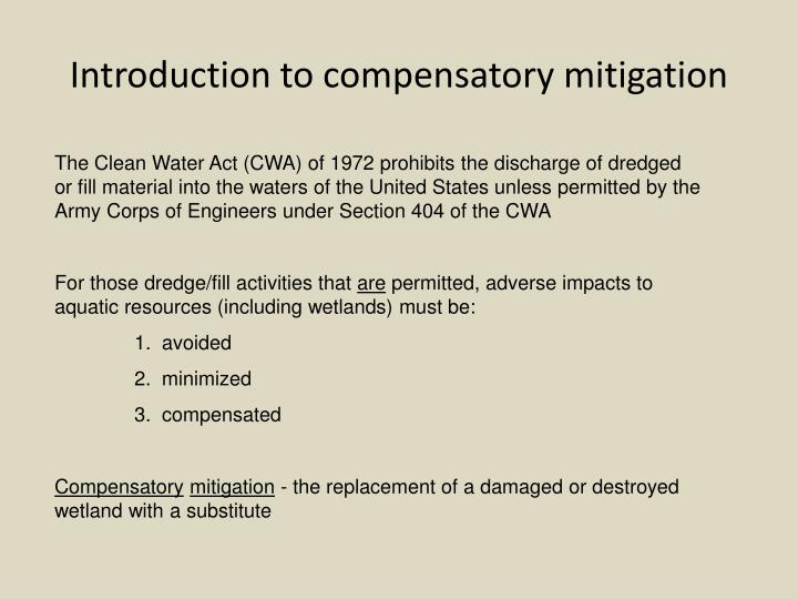 Introduction to compensatory mitigation