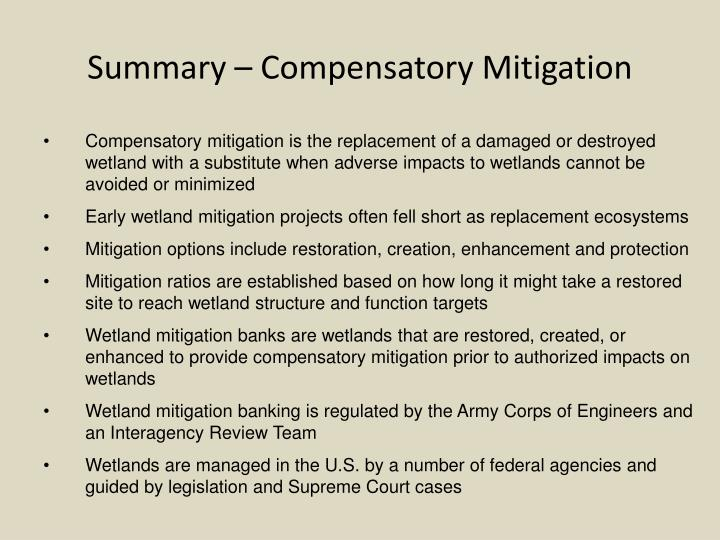 Summary – Compensatory Mitigation