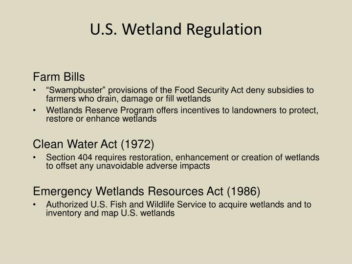U.S. Wetland Regulation