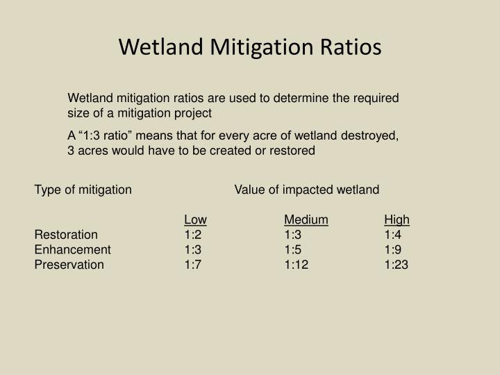 Wetland Mitigation Ratios