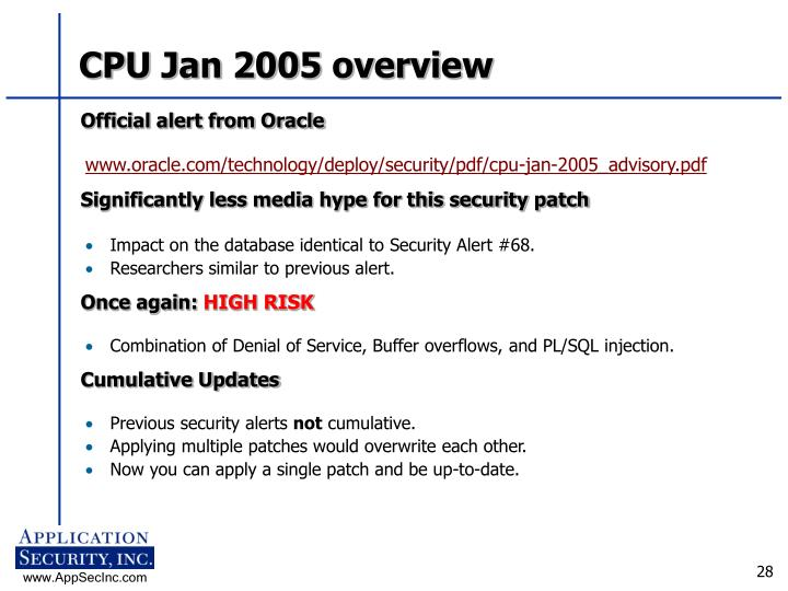 CPU Jan 2005 overview