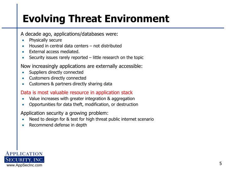 Evolving Threat Environment
