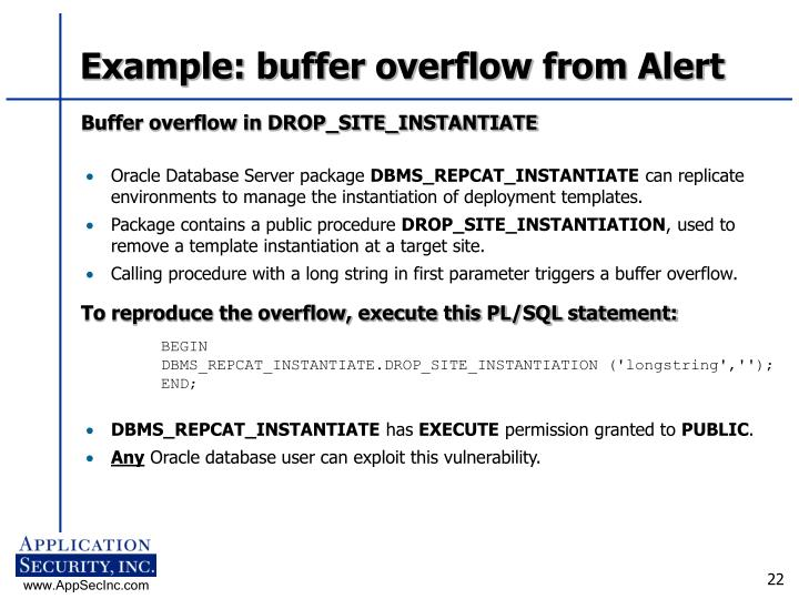 Example: buffer overflow from Alert