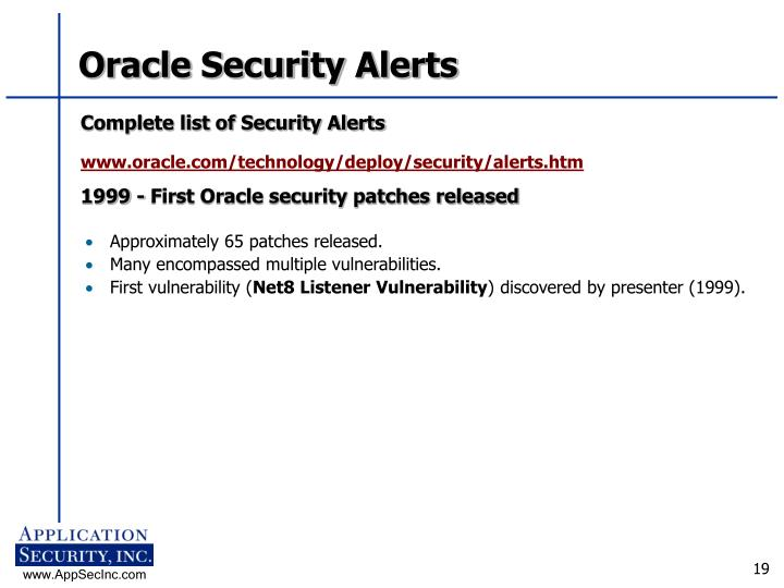 Oracle Security Alerts