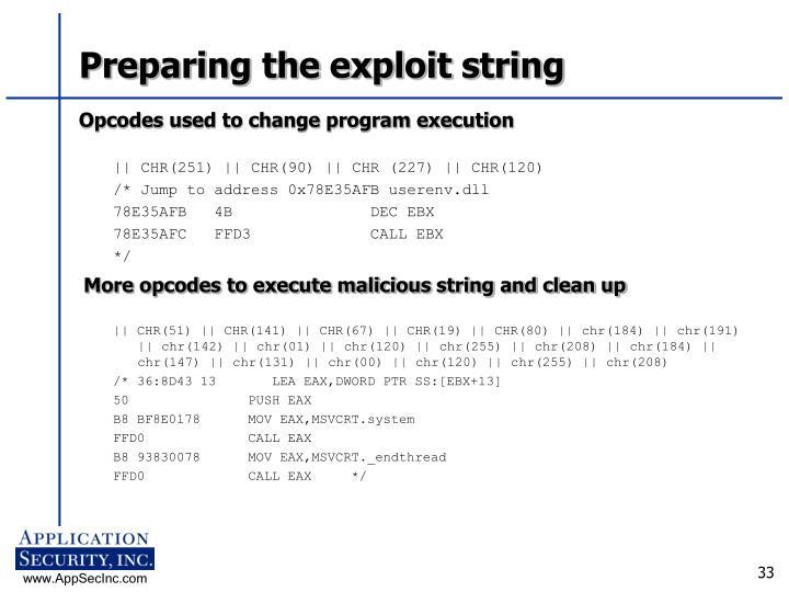 Preparing the exploit string