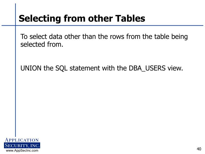Selecting from other Tables