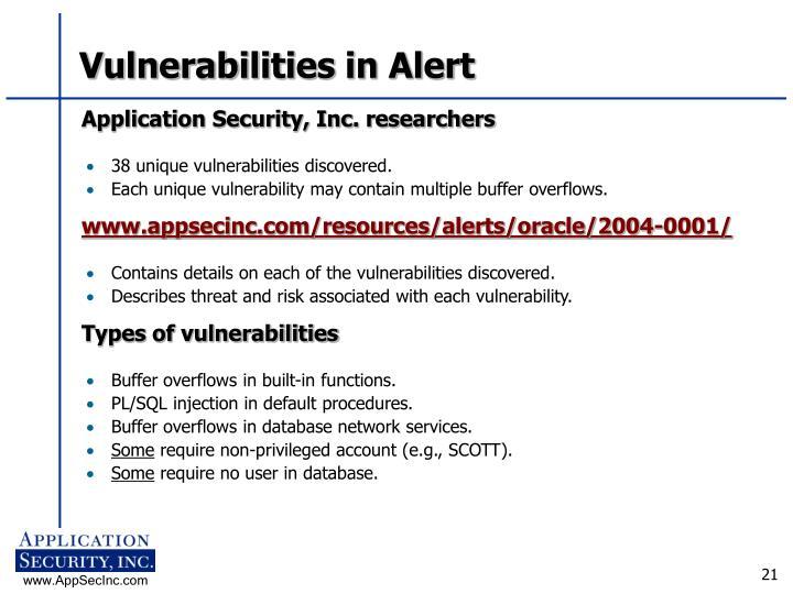 Vulnerabilities in Alert