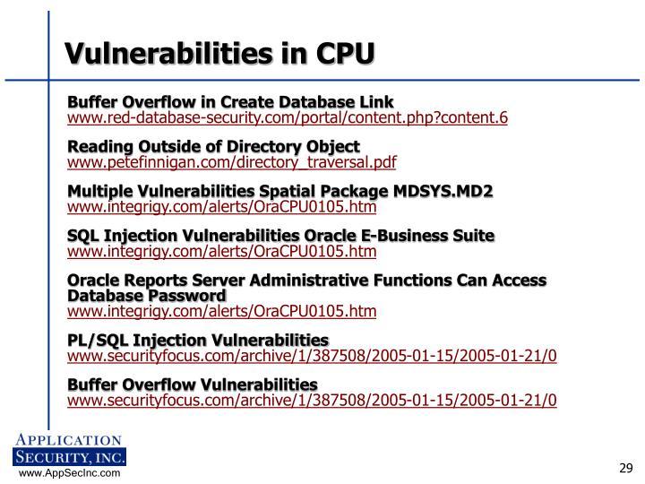 Vulnerabilities in CPU