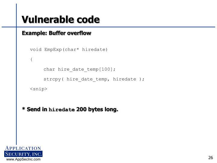 Vulnerable code