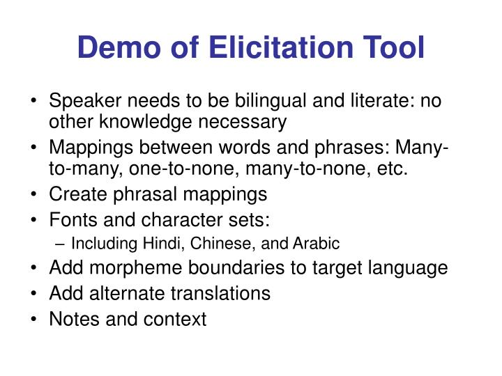 Demo of Elicitation Tool