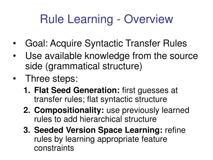 Rule Learning - Overview