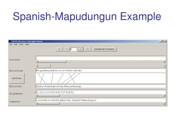 Spanish-Mapudungun Example
