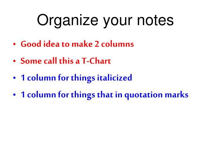 Organize your notes