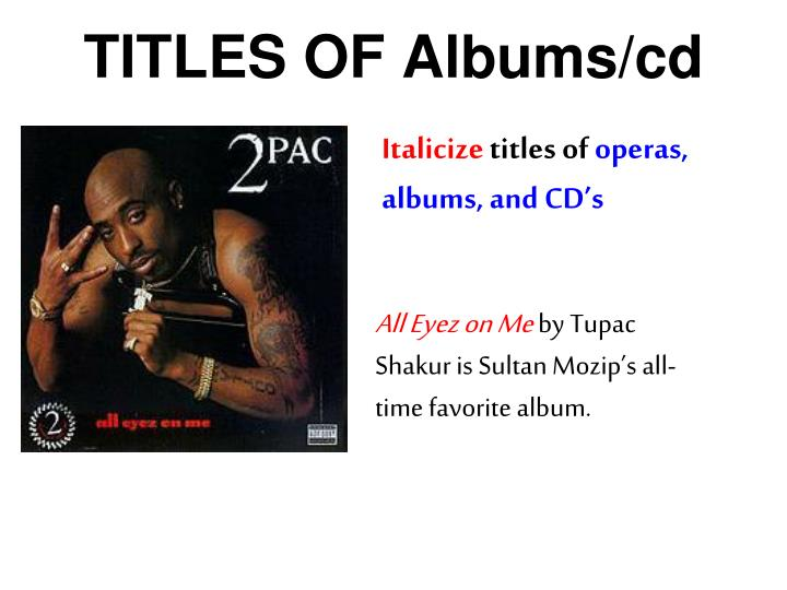 TITLES OF Albums/cd