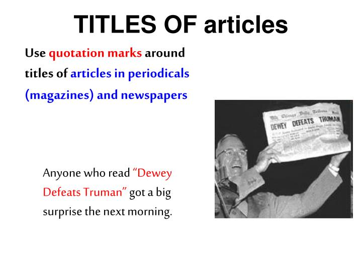 TITLES OF articles