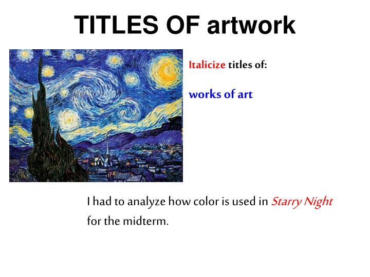 TITLES OF artwork