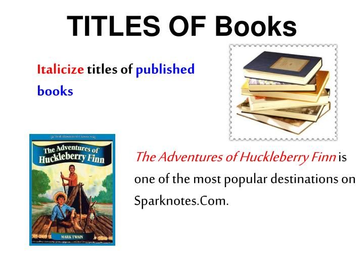 TITLES OF Books