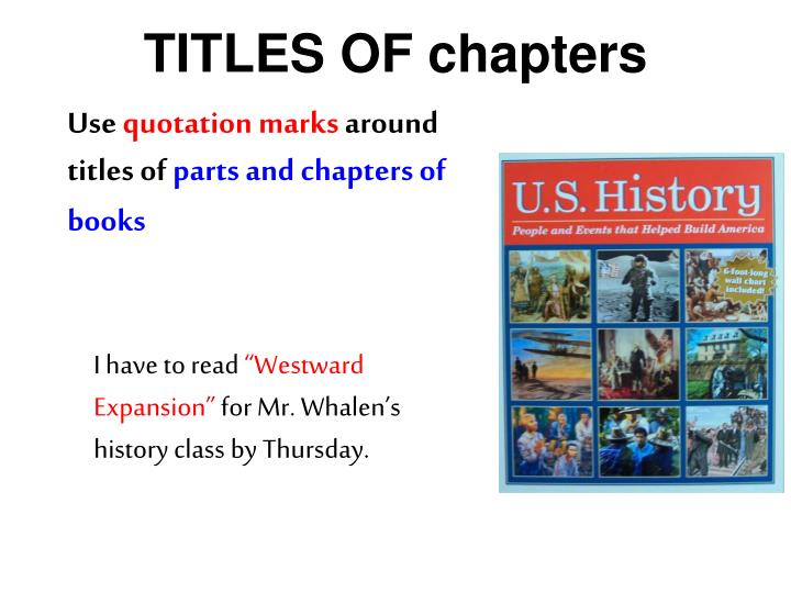 TITLES OF chapters