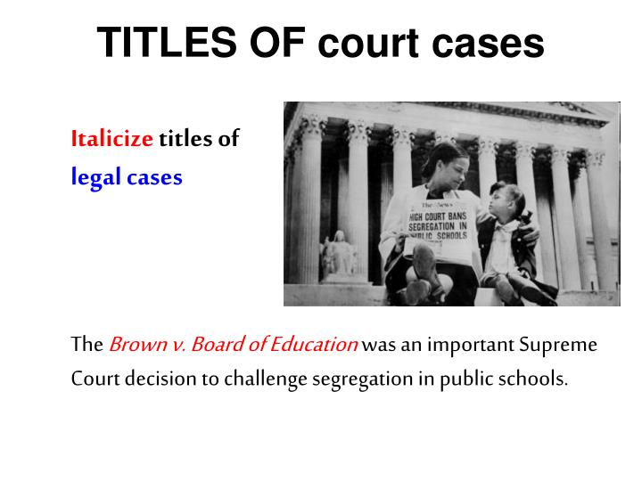 TITLES OF court cases