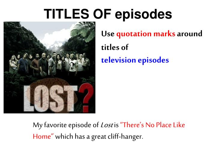 TITLES OF episodes