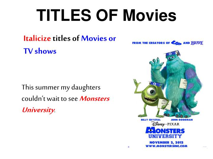 TITLES OF Movies