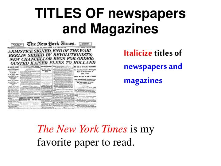TITLES OF newspapers