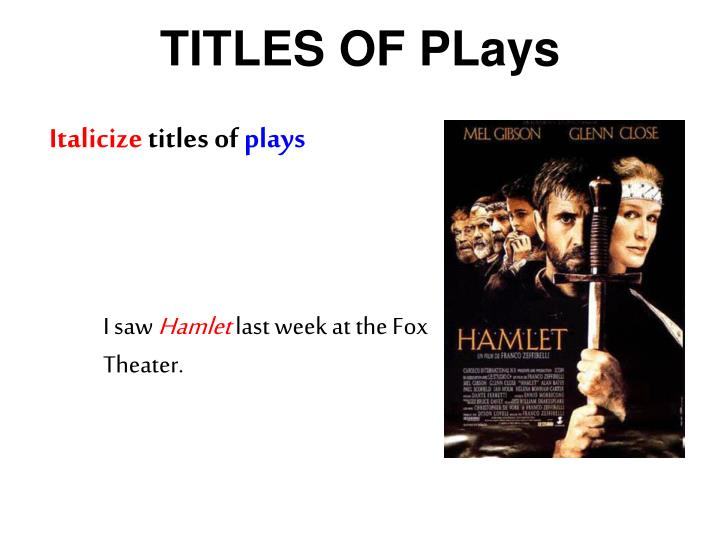 TITLES OF PLays