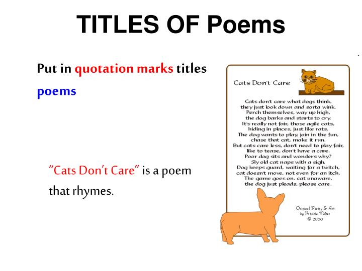 TITLES OF Poems
