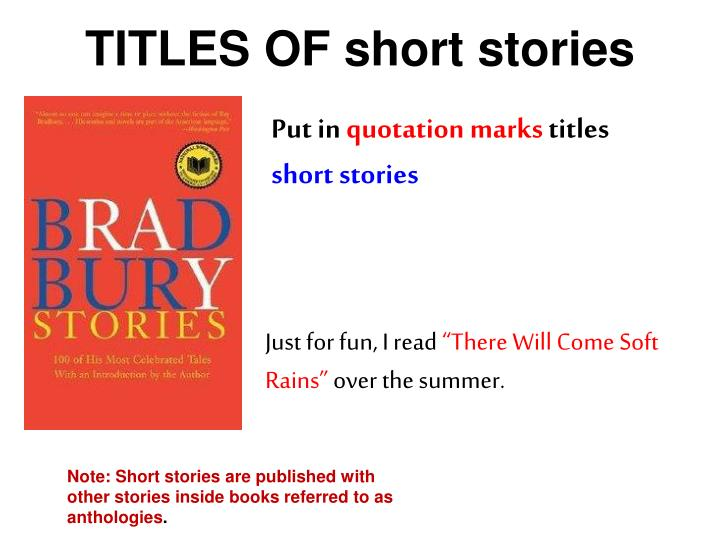 TITLES OF short stories