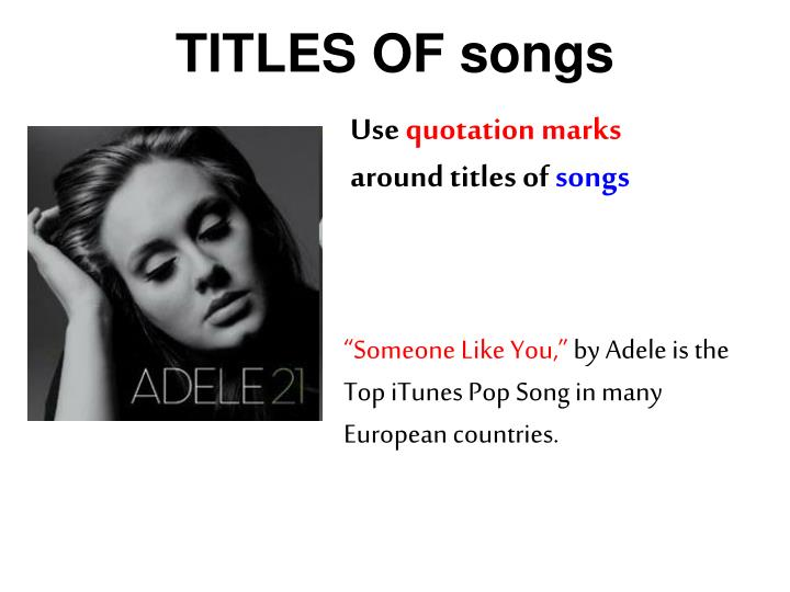 TITLES OF songs