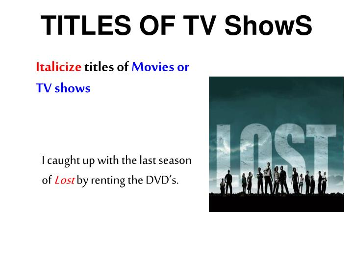 TITLES OF TV ShowS