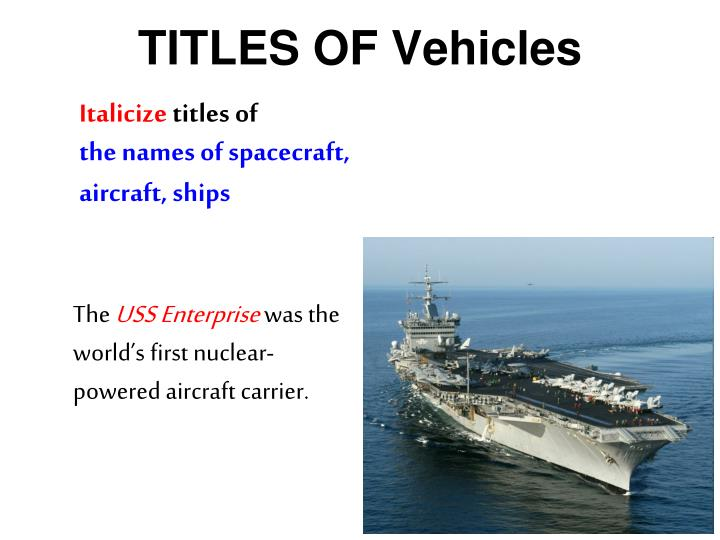 TITLES OF Vehicles
