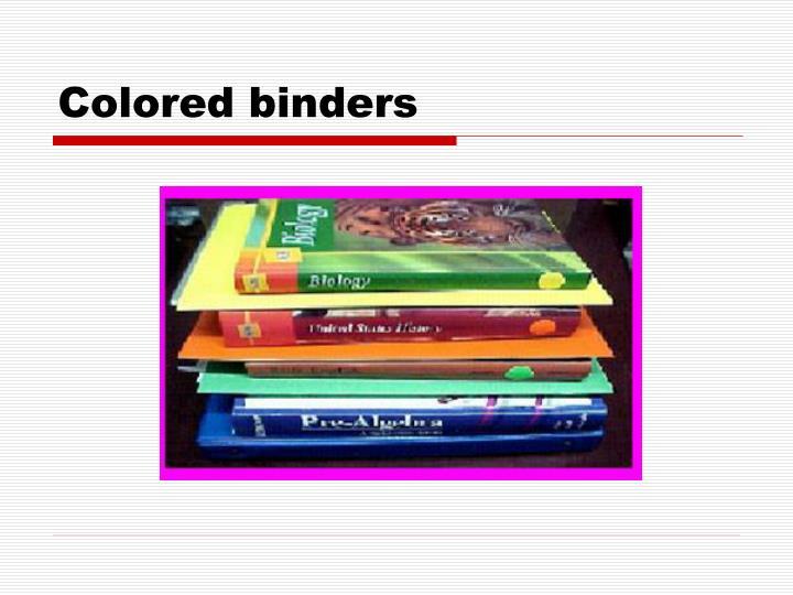 Colored binders