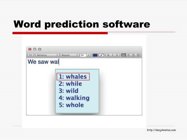 Word prediction software