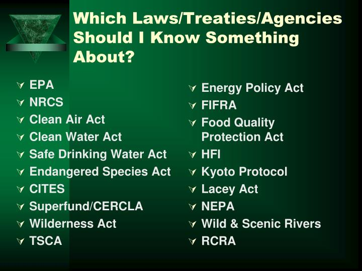 Which Laws/Treaties/Agencies Should I Know Something About?