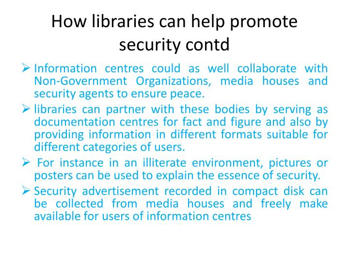 How libraries can help promote
