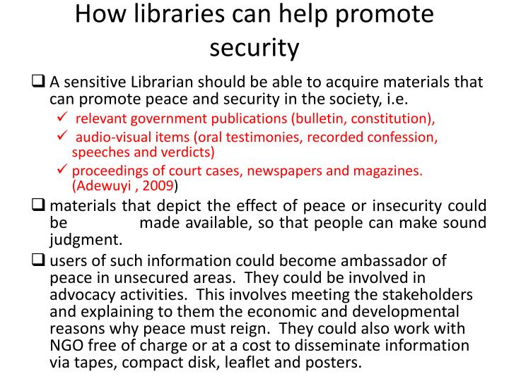 How libraries can help promote security