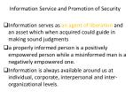 information s ervice and promotion of s ecurity