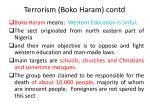 terrorism boko haram contd