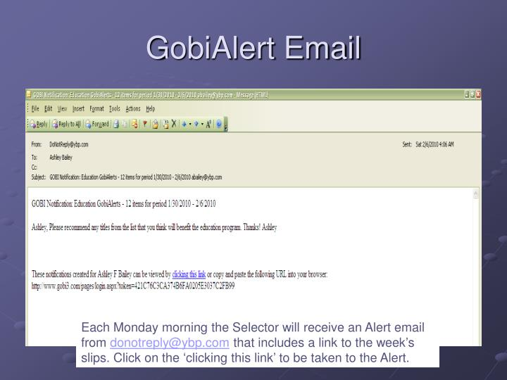GobiAlert Email