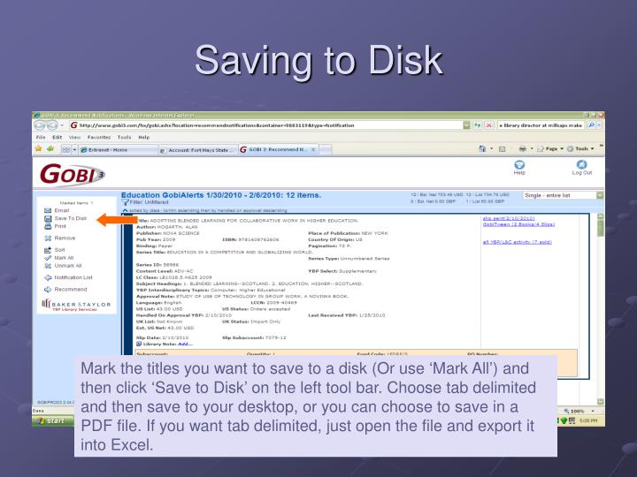 Saving to Disk