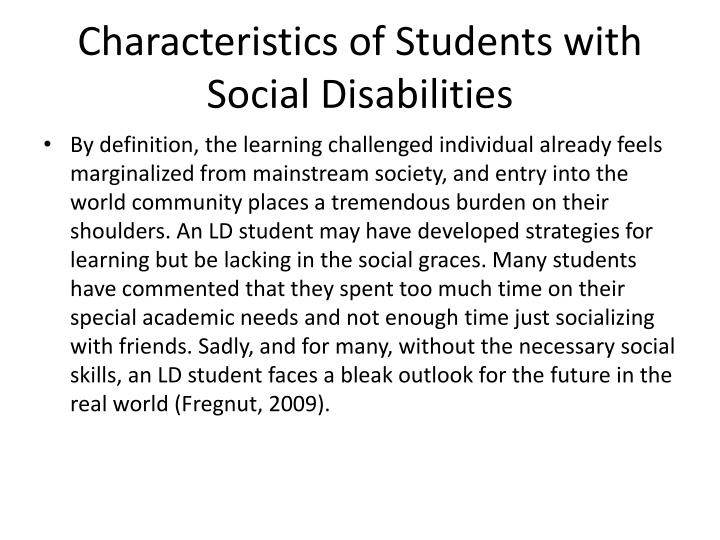 Characteristics of Students with Social Disabilities