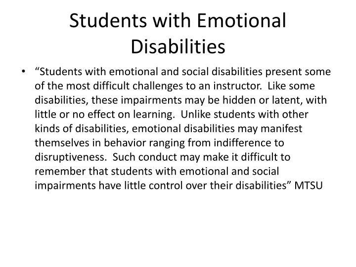 Students with Emotional Disabilities