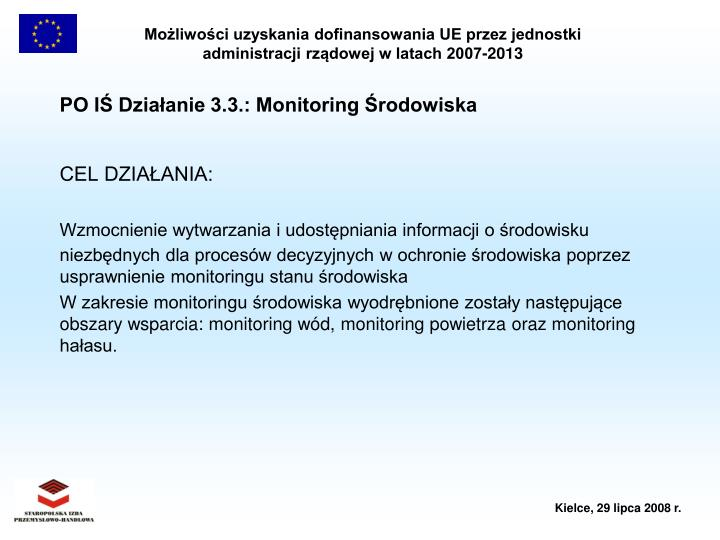 PO IŚ Działanie 3.3.: Monitoring Środowiska