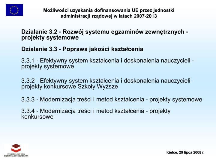 Działanie 3.2 - Rozwój systemu egzaminów zewnętrznych - projekty systemowe