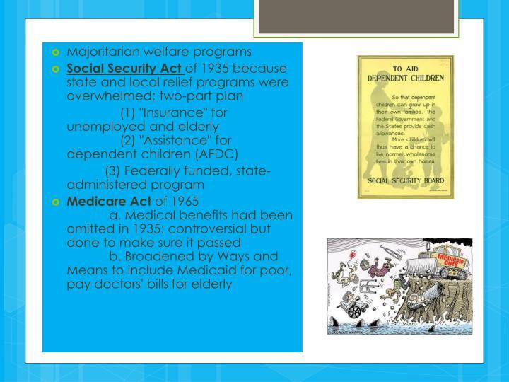 Majoritarian welfare programs