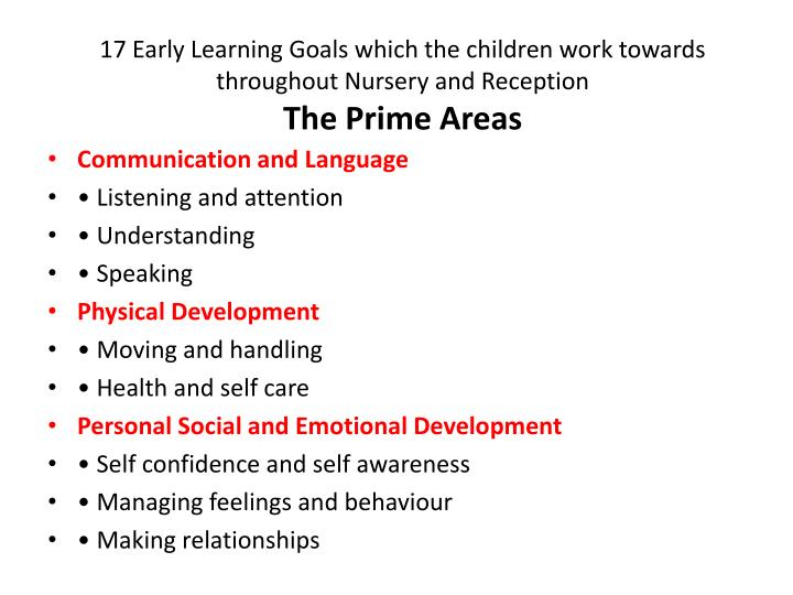 17 Early Learning Goals which the children work towards