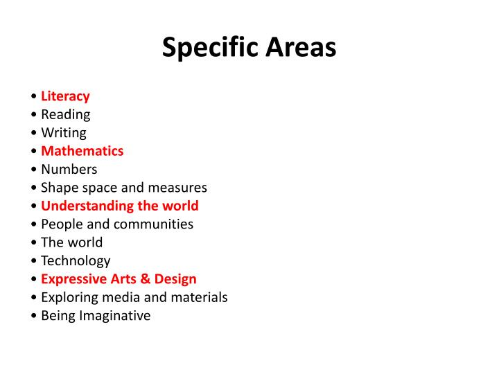 Specific Areas